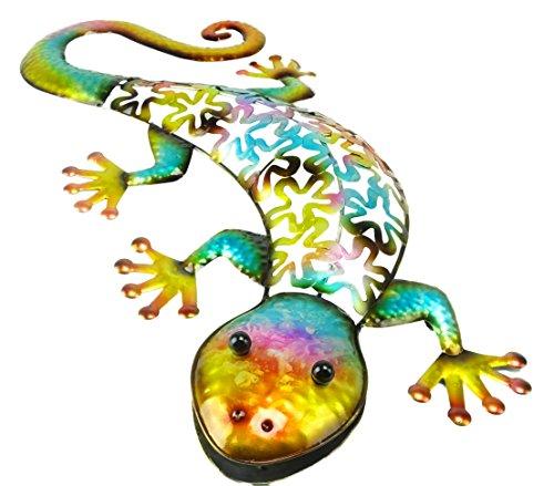 Christmas Concepts® Bunte Metall Reptilien Wandkunst - Indoor/Outdoor Gartendekoration (53cm Blauer Gecko) (21 Zoll)