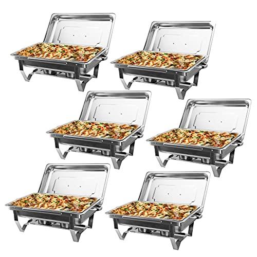 Z ZELUS 6Pcs 9L Chauffe-Plats en Acier Inoxydable, Chafing Dish INOX, Buffets Chauffants Chauffe Plat Rectangulaire, Bain-Marie pour Buffets, Environnements en Libre-Service, Restaurants, Réceptions