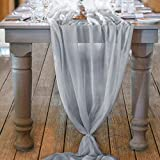 Mixsuperstore Light Gray 10Ft Chiffon Table Runner 29x122 Inches Romantic Wedding Runner Sheer Bridal Party Decorations