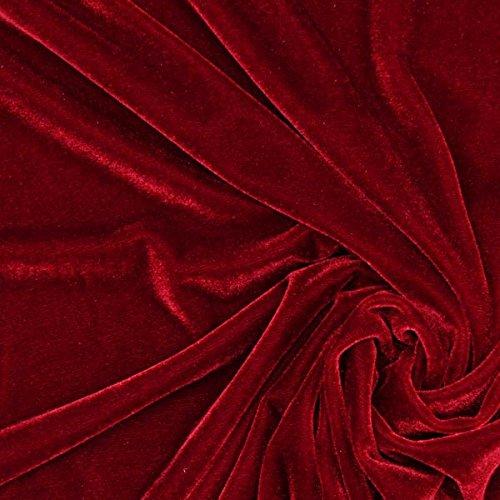 Fabulous Fabrics Samt Karminrot, Uni, 147cm breit – Samt zum Nähen von Abendkleidung, Blazern und Tops – Meterware erhältlich ab 0,5 m