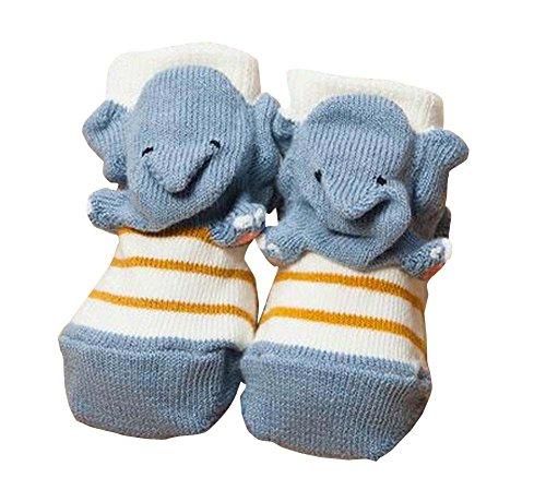 East Majik EIN Paar Winter/Herbst-Fußboden-Socken Babysocken [Elefanten]