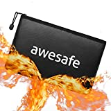 Fireproof Document Bags, Fireproof Bag 10.2''x 7.1'' (2060℉) Fire Proof Money Bag for Cash with Zipper Document Containers Safe for Cash Jewelry Passport Files Valuables (Black)