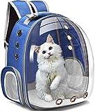 WWWL Mochila transportadora de gatos transpirable transparente para cachorros de burbujas de espacio, cápsula de transporte de mascotas, transporte para viajes, camping, senderismo, azul