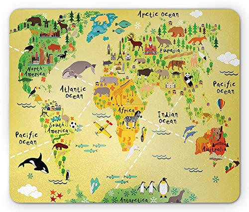 Africa Mouse Pad, Educational World Map Africa America Penguins Atlantic Pacific Animals Australia, Standard Size Rectangle Non-Slip Rubber Mousepad, Multicolor