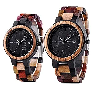 BOBO BIRD ボボバード メンズ レディース カップル 木製腕時計 カラフル 軽量 夜光 日付・週表示 アナログ クォーツ ギフトボックス P14 ペアウォッチ