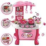 deAO Cocinita con Característica de Luces y Sonidos Ajustable Cocina y Comida de Juguete Playset de Imitación Infantil Conjunto Incluye Accesorios (Rosa)