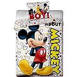 Parure de lit Mickey Disney - housse de couette taie lit 1 personne - 140 x 200 cm + 63 x 63 cm