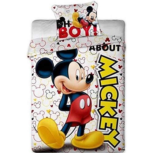 Disney - Funda de edredón y almohada para cama individual, diseño de Mickey Mouse