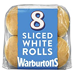 Warburtons 8 Sliced Soft White Rolls, 400g