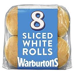 Warburtons 8 Sliced Soft White Rolls, 440g