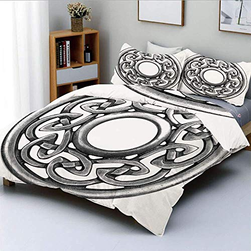Duvet Cover Set,Royal Style Circular Celtic Pattern Graphic Print Metal Brooch Design Scottish ShieldDecorative 3 Piece Bedding Set with 2 Pillow Sham,Silver,Best Gift For Kids Easy Care Ant