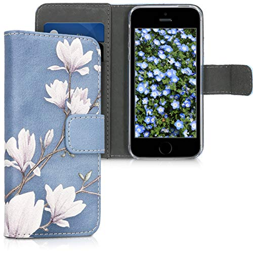 kwmobile Hülle kompatibel mit Apple iPhone SE (1.Gen 2016) / 5 / 5S - Kunstleder Wallet Case mit Kartenfächern Stand Magnolien Taupe Weiß Blaugrau