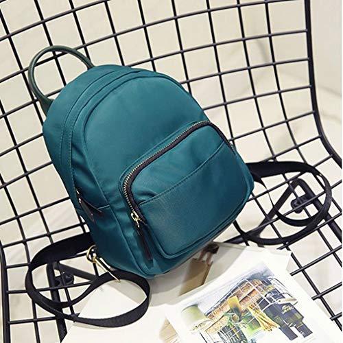 JIE Female Durable Women Mini Simple Leisure Small Smooth Zipper Handbag Backpack Blue