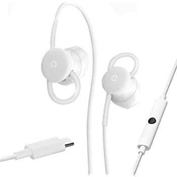 Google Earbuds USB-C Wired Digital Headset Type-C for Pixel Phones - Microphone and Volume Control - White