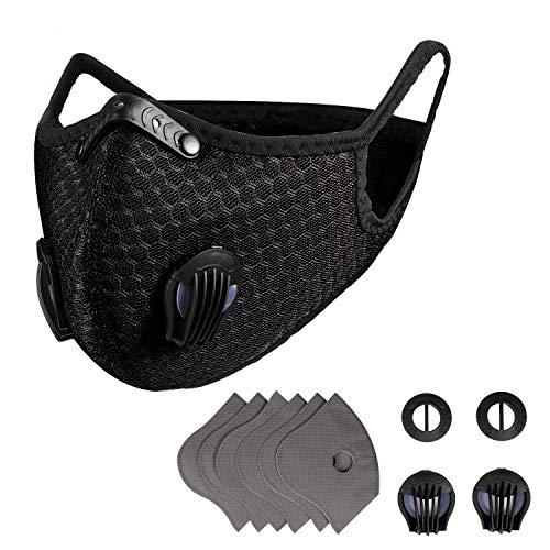 EEIEER Mundschutz Abdeckung mit 7 Filterpads & 4 Ventile, Wiederverwendbar Verstellbar Mundschutz Abdeckung für Laufen, Radfahren