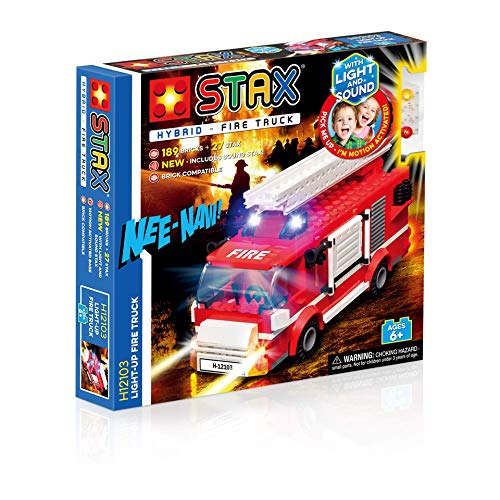 Light STAX Hybrid Light Up Fire Truck H12103, Licht und Sound Bausteinset, kompatibel mit STAX System und allen bekannten Bausteinmarken, inklusive 189 Bausteinen und 27 STAX Bausteinen