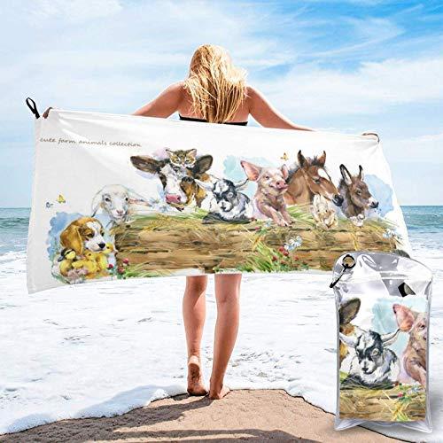 Toallas de Playa Granjas de Acuarela Animal Hombres Mujeres Colorido Lindo Perro Pato Gatitos Mantón Súper Absorbente con Alfombra de meditación con Flecos