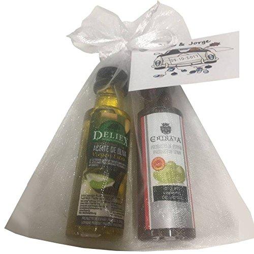 Pack Detalle Boda Miniaturas Aceite De Oliva y Vinagre Pack 24 ud Con Tarjeta Personalizada