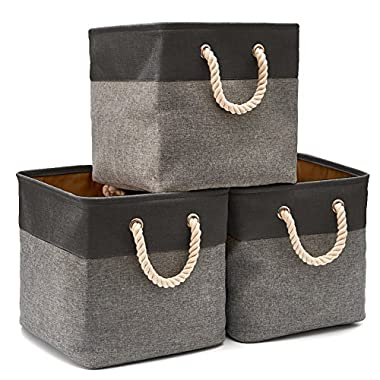 Collapsible Storage Bin Cube Basket [3-Pack] EZOWare Foldable Canvas Fabric Tweed Storage Bin Set with Handles for Home Office Closet (13 x 13 x 13 inches) (Black/Gray)