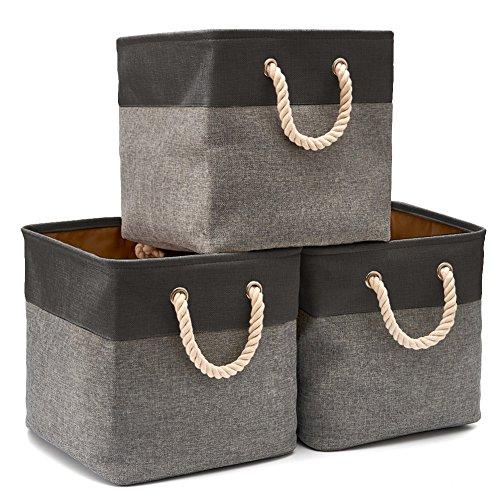 EZOWare Cajas de Almacenaje, 3 Pcs Cesta Organizador Cubos de Tela Plegable con Manijas para Hogar, Oficina, Estanterías, Armarios, Ropa, Juguetes y mas - 33 x 33 x 33 cm (Gris/Negro)