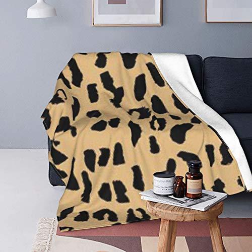 DUTRIX Manta de forro polar ultrasuave con estampado de leopardo, color beige y negro, 125 x 100 cm