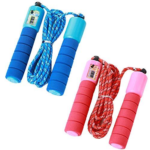 Gxhong Springseil Kinder, 2 Stücke Springseil mit Zähler und Komfortablen Griffen, Verstellbarer Springseil Speed Jump Rope Skipping Rope für Fitnesstraining