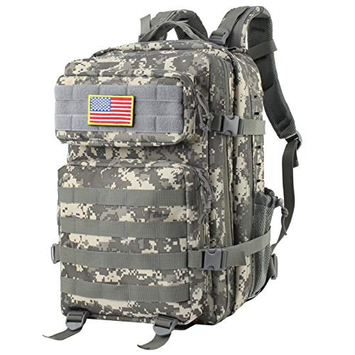 Mens Tactical Military Backpack, 45L Army Backpack Camo 3 Day Assault Pack Molle Bag with a US Flag Patch for Camping-Camo