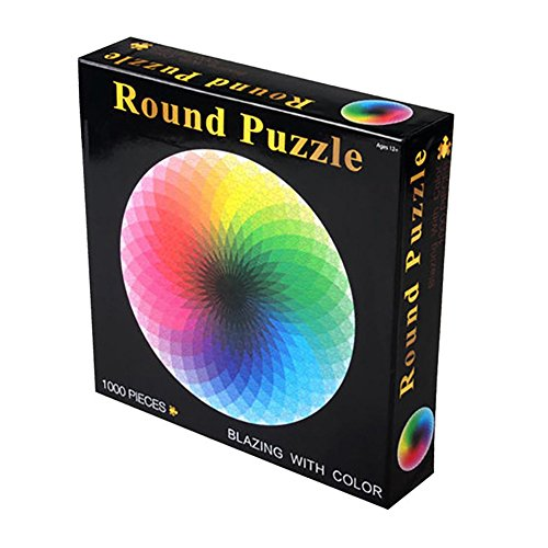 Elegantstunning - Rompecabezas de colores del arcoíris redondo geométrico para adultos y niños, para reducir el estrés, juguete educativo, rompecabezas de papel, 1000 piezas por juego