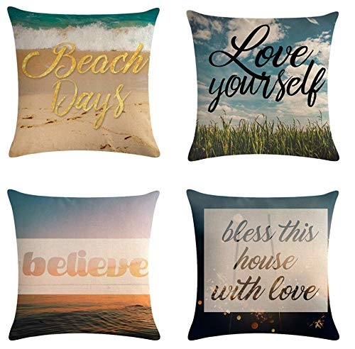 JgZATOA Letter Print Sky Cushion Cover Pillow Case Living Room Sofa Couch Bed Pillowcases Office Cushion 45Cm X 45Cm Set Of 4