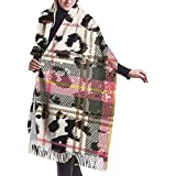 Brave Har Bufanda de tartán escocés con manchas de piel de leopardo, cómodo chal de cachemira para mujer, bufanda grande de invierno