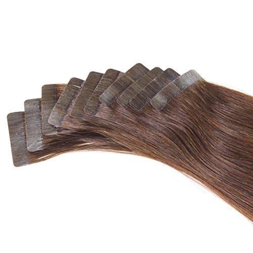Just Beautiful Hair and Cosmetics Lot de 20 extensions capillaires avec bandes adhésives Cheveux naturels de qualité Remy Mèches de 2,5 g et 50 cm