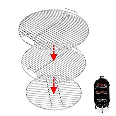 Uniflasy 7432 Upper Cooking Grate, 85042 Lower Grate, 63013 Charcoal Grates for Weber Charcoal Grill 18/18.5 Inch Smokey Mountain Cooker, 2 Cooking Grate and 1 Charcoal Grate, 3 Pack
