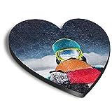 Destination Vinyl ltd Corazones MDF imanes – Snowboarder Esquí para Oficina, Armario y Pizarra Blanca, Pegatinas Magnéticas 8322