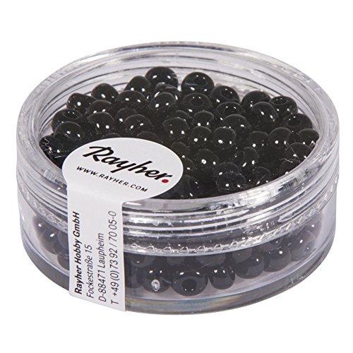 Rayher 1406701Indianer-Perlen, 4,5 mm ø, schwarz