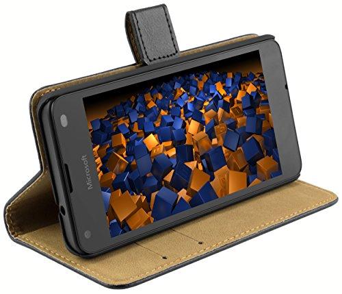mumbi Echt Leder Bookstyle Case kompatibel mit Microsoft Lumia 550 Hülle Leder Tasche Case Wallet, schwarz