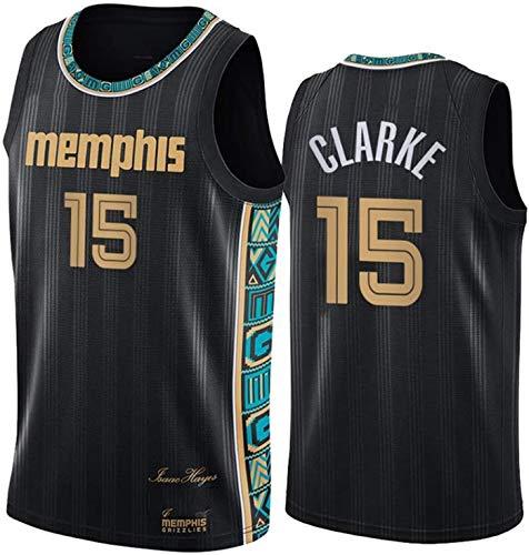 ZMIN Jersey de Baloncesto para Hombres, Grizzlies # 15 Clarke NBA Transpirable y Chaleco de Secado rápido Camiseta Deportiva sin Mangas Top Baloncesto Uniforme,A,XXL 185~190cm