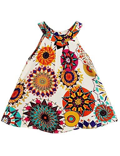 Little Baby Girls Clothes Sleeveless Leopard Top Pleated Dress Skirt Summer Toddler Party Dress (Boho Dress, 4-5T)