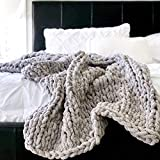 VIYEAR Knit Throw Jumbo Chenille Blanket for Cuddling up in Bed, Chunky Chenille Yarn Arm Knit Blanket on The Couch or Sofa Gray 40'×59'