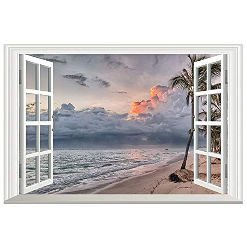 DNVEN 24 inches x 16 inches 3D Full Color Grey Dark Sky Beachside False Faux Window Frame Window Mural Vinyl Bedroom Living Room Playroom Wall Decals Stickers