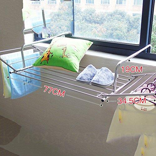 Acero inoxidable tendedero de ropa,Ventana El balcón Cerca manta secadora estante zapato rack ventana frío estante de la ropa retráctil plegable racks secadoras-A