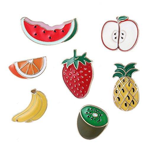 Tri-Elt 7 Stücke Obst Brosche Niedlich Frucht Wassermelone Apfel Orange Ananas Banane Kiwi Erdbeere Anstecknadel Gesund Lebensmittel Essen Tuchclip Schalclip Korsage Schmuck für Damen Mädchen Kinder