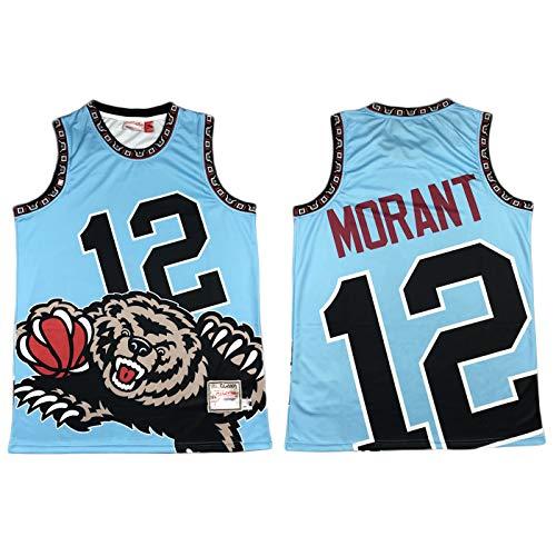 ZMIN Jersey de Baloncesto para Hombres, Grizzlies 12# Morant Basketball Jersey, Fashion Sports Basketball Jersey Chaleco,A,XXL 185~190cm