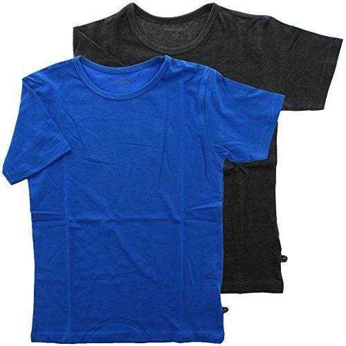 Minymo 2er Pack Kinder Jungen T-Shirt, Kurzarm, Alter 3-4 Jahre, Größe: 104, Farbe: Hellblau und Grau, 3932