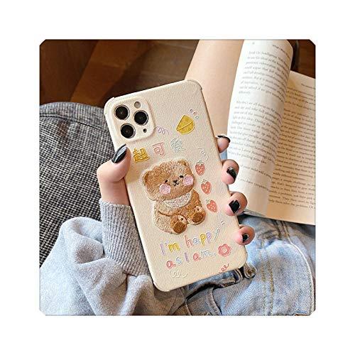 FightLY Funda de teléfono con dibujos animados para iPhone 11 Pro Max Mini 7 8 Plus X XS Max XR SE Exquisita funda bordada cubierta de la lente de la protección del oso marrón lindo para iPhone 8 Plus