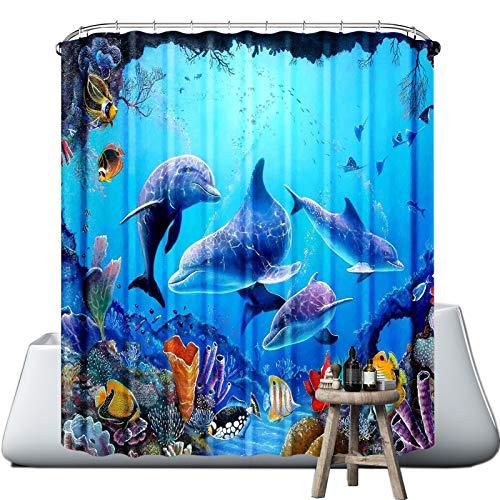 wiipara Duschvorhang Waschbar Bad Vorhang Textil aus Polyester Stoff Wasserdicht Badewanne Vorhang mit 12 Duschvorhängeringen für Eck Badewanne (Delphinfamilie, 180 x 180 cm)
