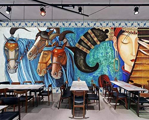HUATULAI muurschildering 3D behang muurschildering Europese met de hand beschilderde kunst Mongoolse Dans Paard Hotel Restaurant achtergrond Wall Paper muurschildering 430 * 300cm/W*h