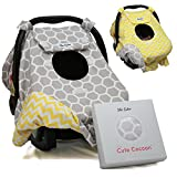Sho Cute - [Reversible] Carseat Canopy | All Season Baby Car Seat Cover Boy or Girl | 100% Cotton | Unisex Grey Honeycomb & Yellow Chevron | Universal Fit | Baby Gift -Patent Pending