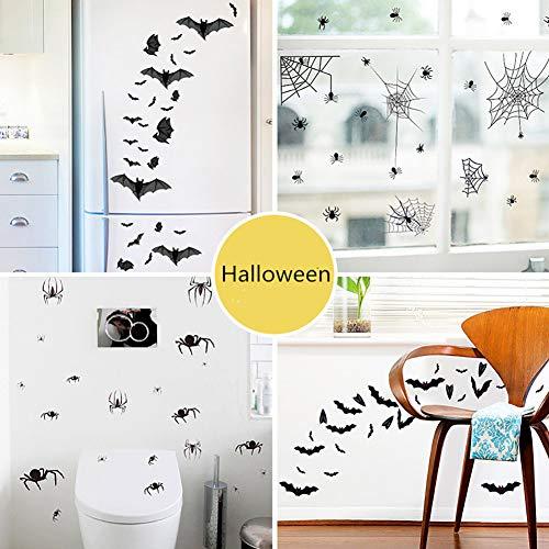 Yiwa Halloween-spin vleermuis motief elektrostatische muursticker voor glazen ramen vloer restaurant decoratie