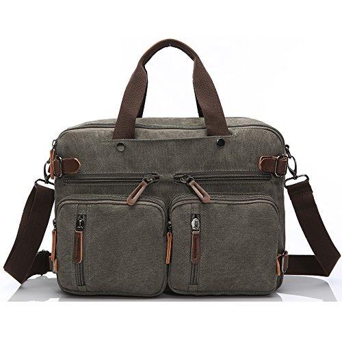 Laptop Briefcase for 15.6Inch,Hybrid Multifunction Backpack Messenger Bag Canvas BookBag for Men,Women,College Students Teacher (15.6 inch, Gray)