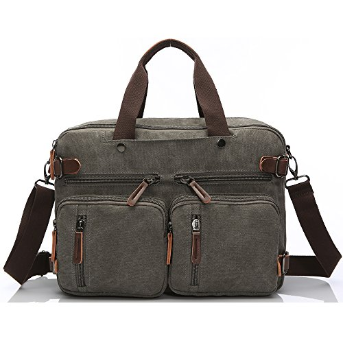 Laptop Briefcase for 15.6Inch,Hybrid Multifunction Backpack Messenger Bag Canvas BookBag for Men,Women,College Students Teacher (15.6 inch, Gray)